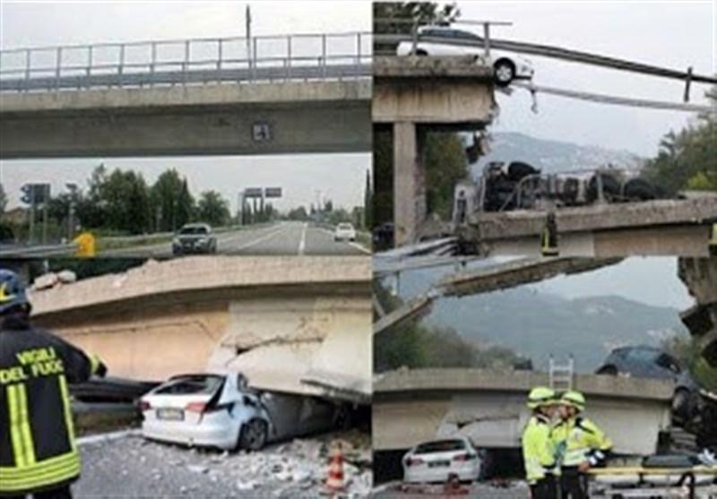 فیلم، لحظه فروریختن پل روی جاده ای در ایتالیا